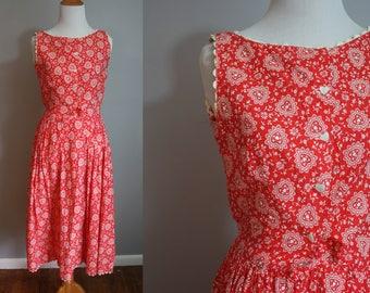 1950's Dress // Heart Bandana Print // Small