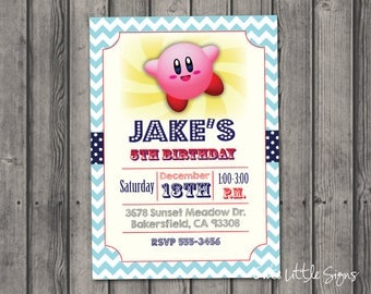 Kirby Birthday Invitation Digital Download