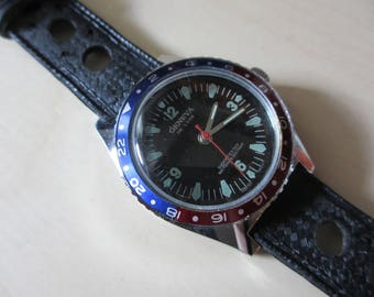 1970s Geneva Deluxe Dive Diving Watch Black Dial Pepsi Bezel Rubber Rally Strap Stainless Steel 43mm Winding Mechanical Watch Date