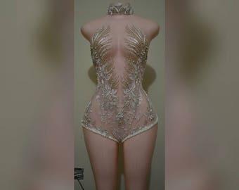 Nish custom ANEKA white  romper / bodysuit / swimsuit / swimwear