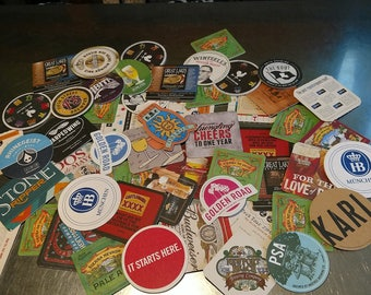 Beer Coasters, Cardboard, tied with ribbon and Bud Light Bottle Opener Key Ring