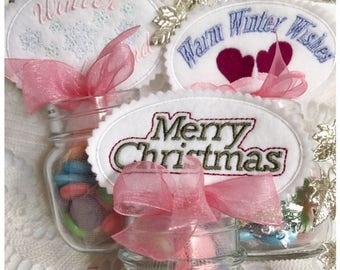 Christmas Candy Topper Set Machine Embroidery Designs - Instant Download Designs in Pes, Vip, Vp3, Dst, Exp, Hus and Jef Formats