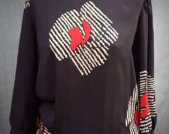Vintage 1970s Richard Shops Black & Red Print, Day to Night Dress.