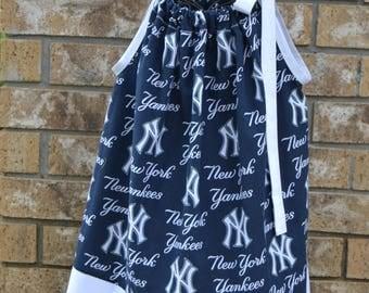 NY Yankees Dress - NY Yankees Pillowcase Dress - Handmade Pillowcase Dress - Custom Made Pillowcase Dress - NY Yankees Matching Purse