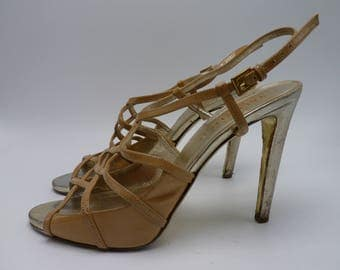 VALENTINO GARAVANI Gold Criss Cross Heels / Pumps