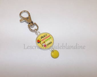 "Keychain ""thank you gift of helping me grow"" features a yellow enameled sequin"