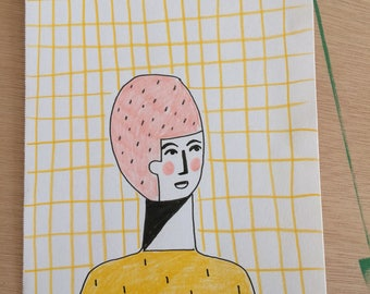 Girl in pink hat.