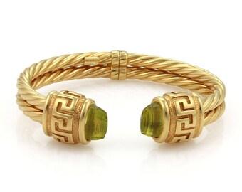20360 - Estate Peridot 14k Yellow Gold Double Cable Cuff Band Bracelet