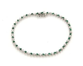 20051 - 1.75ct Emerald & Diamond Martini Prong Set 18k Gold Tennis Bracelet