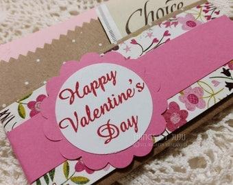 Valentine Gift For Her Handmade Valentine Gift Card Holder  Pink Tea Bag Holder Happy Valentines Day Card Paper Gift Card Holder Envelope