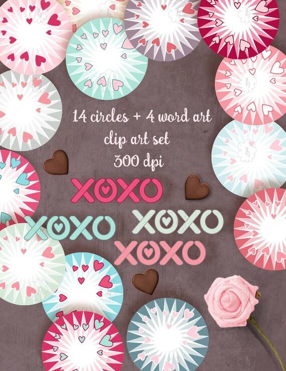 Valentine Circles Clipart - round frames - Valentine's Day - hearts - XOXO