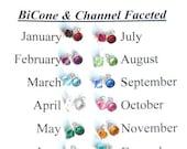 ADD ON Birthstone, Swarovski Crystal 6mm, BiCone or Round, Birthstone, Charm, Dangle, Personalized, Months, Birthstones, Crystal, Add On