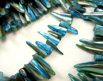 Shell beads, 1 strand, pin, Turquoise