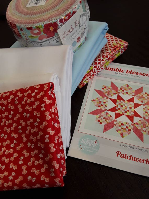 Quilt Kit. Modern Patchwork Swoon Fabric from Moda's Little Ruby Collection with Jelly Roll, Pattern by Camille Roskelley Thimble Blossoms