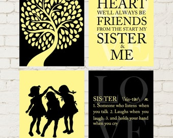 Three Sisters Wall Art Siblings Art Girls Wall Art Friends