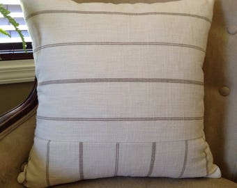 Neutral Striped Pillow Cover 18|20|22|24 inch Neutral Home Decor Cream Pillow Cover Tan Stripe Pillow Cover Farmhouse Decor Tan Cream Pillow