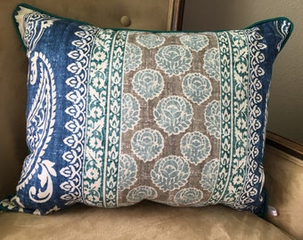 Blue Gray Pillow Cover 16 x 20 inch Pillow Cover Long Pillow Cover Lumbar Pillow Cover Blue Teal Pillow Cover