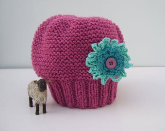 Pink Hat - Beanie Hat - Hat with Flower - Ladies Hat - Ladies Beanie Hat - Knitted Hat - Wool Hat - Knit Hat - Red Hat - Gifts for Her