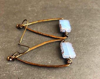 Boho earrings, czech glass earrings, lavender earrings, rustic earrings, triangle earrings, antiqued earrings,  gypsy earrings,