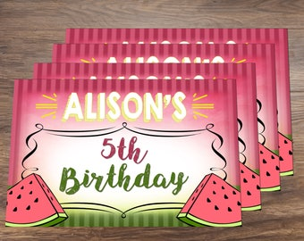 Watermelon Summer Theme Birthday Party Digital Placemat