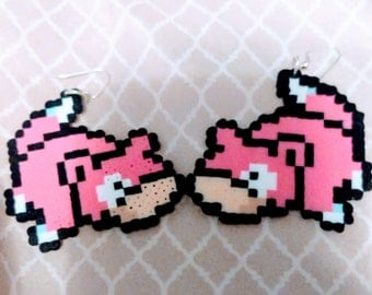 Slowpoke perler bead earrings
