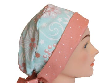 Medical Hat Surgical Scrub Cap Chemo Vet Nurse Dr Hat Front Fold Pixie Style Ceil Blue Green Peach   2nd Item Ships FREE
