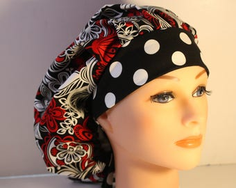 Medical Scrub Cap Surgical Hat Tie Back Bouffant Red Silver Black Floral Dots / 2nd Item Ships FREE