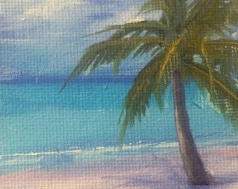 "Original mini oil painting, canvas on panel, 3""x3"", ""Tropical"", by Debi HInshaw"