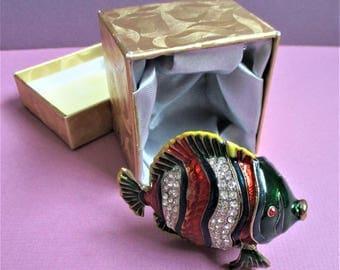 Tropical Fish Jewelry Box Rhinestone Jeweled Ring Box Vintage Cloisonne Green Red Enamel Rhinestones Trinket Box Sealife Jewelry Gift Box