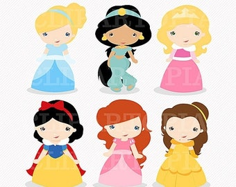 50% OFF SALE Princess 3 Digital Clipart / Cute Princess Clip Art / Fairytale Princess Digital Clipart For Personal and Commercial Use / INST