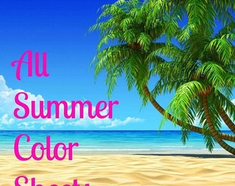 Weekend Sale All Summer Colored Sheets for Erin Condren Life Planner Vertical Layout