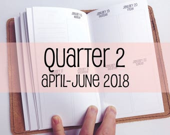Traveler's Notebook PERSONAL Size Week on Two Pages in VERTICAL Layout {Q2 | April-June 2018} #700-32