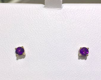 amethyst 14k yellow gold stud earrings