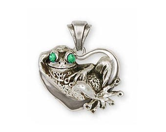 Frog Pendant Jewelry Sterling Silver Handmade Frog Pendant FG12-XP