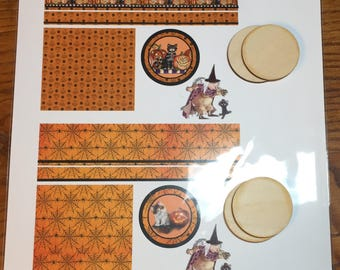 Preprinted Halloween Graphics by Loretta Kasza To Make Your Own One Inch Scale Dollhouse Hatboxes