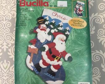 Bucilla Felt Christmas Stocking Kit - Frosty Lake