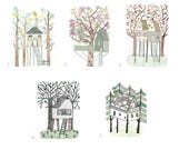 My Life in a Tree House Collection - Five Original Etchings