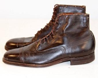 1920s Mens Boots   Mens Antique Boots   Vintage Cap Toe Boots   Mens Vintage Ankle Boots   Vintage Lace Up Mens Boots