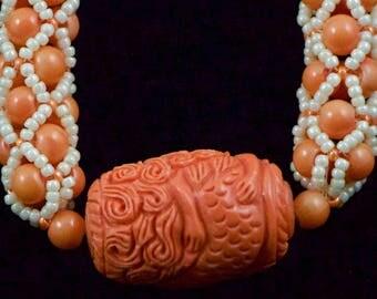 Mermaid Tubular Netting Necklace in Orange and Cream