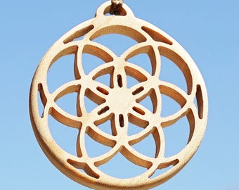 Seed Of Life Pendant - beautiful Maple wooden pendant