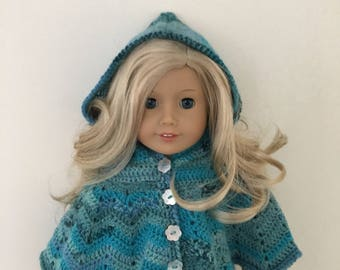 18 inch doll hooded cape! doll clothes, doll hat, doll poncho, American Girl, Gotz Precious day, doll outfit, toy, doll, multicoloured,