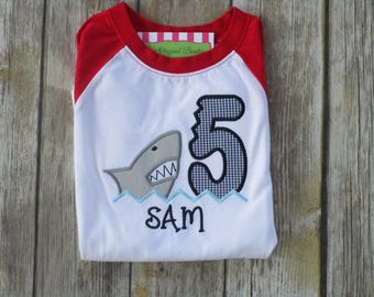 Boy Shark Birthday Shirt - Personalized Shark Birthday Shirt-Boy Monogrammed Shark Birthday Shirt-Raglan Baseball Shirt-Fish Shirt