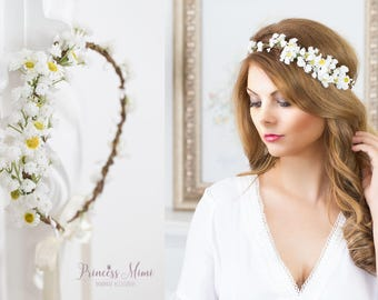 Daisy Flower Crown, Wedding Tiara Bridal flowers, Fairy Crown,Floral garland, Festival or Bridal Hair Wreath, Hair Flowers