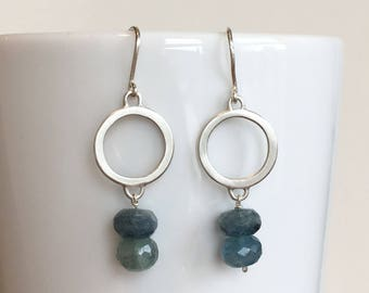 Silver circle and moss aquamarine dangle earrings