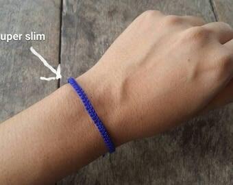 Thai Buddhist Braided Cotton Wristband Bracelet Friendship Fair Trade Handmade adjustable Super Slim Size Royal Blue