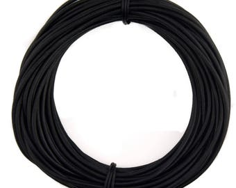 Black Natural Dye Round Leather Cord 1.5mm 50 meters (54 yards)