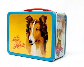 Vintage 1978 Magic of Lassie metal lunch box Thermos Lassie Productions