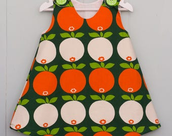 Apple dress / vintage apple fabric/ girls pinafore