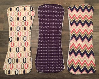 Set of three baby girl burp cloths: pink and purple