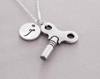 Clock winding key  necklace - custom necklace personalize - winding clock key - steampunk key necklace - clock winding key - clock key